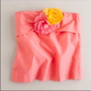 J Crew Factory Pink Bustier Strapless Cotton Silk